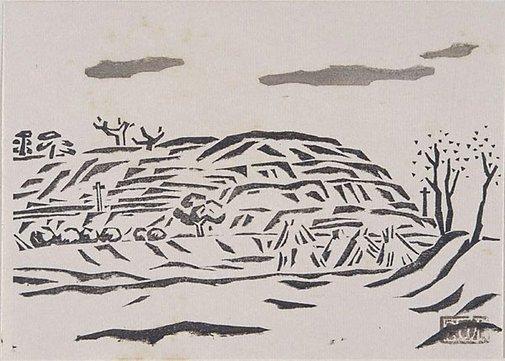 An image of A hill by Fukazawa Sakuichi