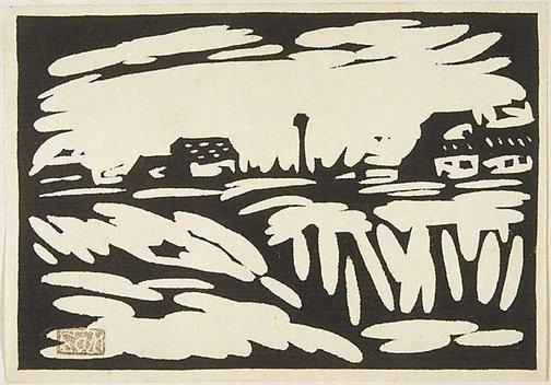 An image of View of a suburb by Fukazawa Sakuichi