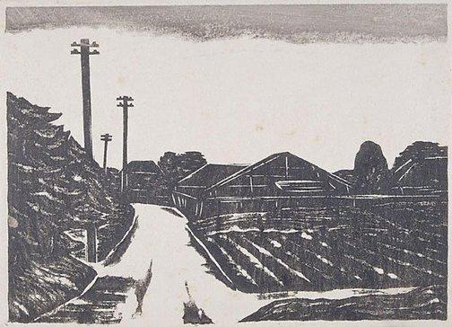 An image of A view of a suburb by Fukazawa Sakuichi