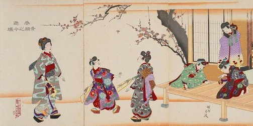 An image of Spring amusements for noble daughters by Toyohara (Yōshū) Chikanobu