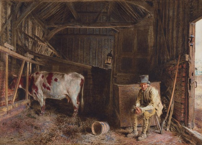 AGNSW collection William Henry Hunt The cow shed circa 1835-circa 1840