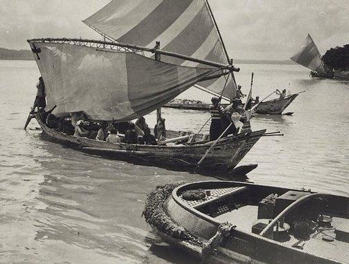 An image of Untitled (Native boats, Fijian Islands) by Henri Mallard