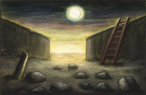 An image of Ladder and Moon by Peter Booth