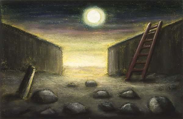 Ladder and Moon, (1992-1993) by Peter Booth