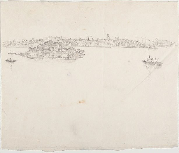 An image of recto: Drawing for 'Iron Cove, Sydney Harbour' verso: [wax impressions]