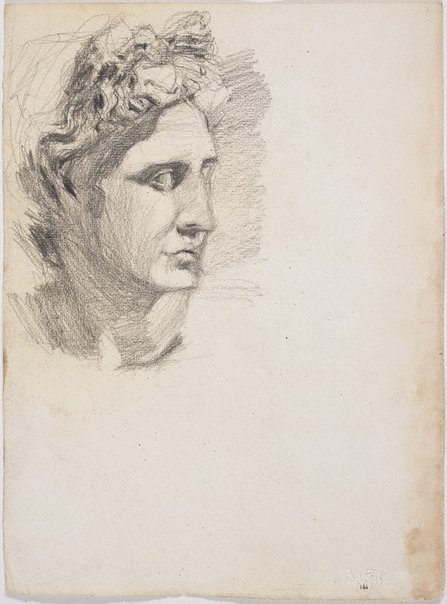 An image of recto: Apollo, Head from the cast verso: Écorché study of male figure by Lloyd Rees
