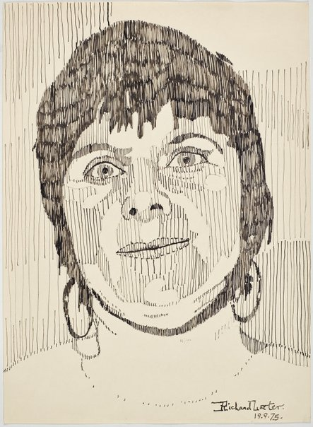 An image of Untitled (Pat with hoop earrings) by Richard Larter