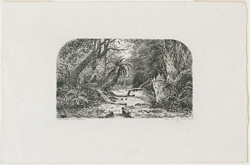 An image of Pigeon Bay Creek, Banks Peninsular, New Zealand by E.L. Montefiore, after Nicholas Chevalier