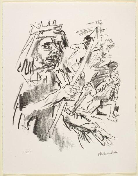 An image of 16. Saul orders Doeg to fall upon the priests by Oskar Kokoschka