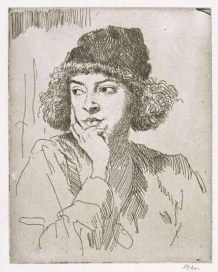 An image of The woollen cap by Augustus John OM