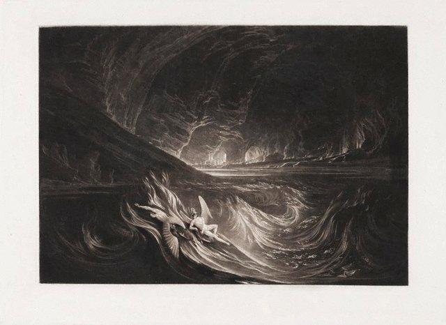 An image of Satan on the burning lake