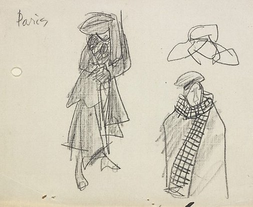 An image of (Two figures, Paris) by Lyonel Feininger