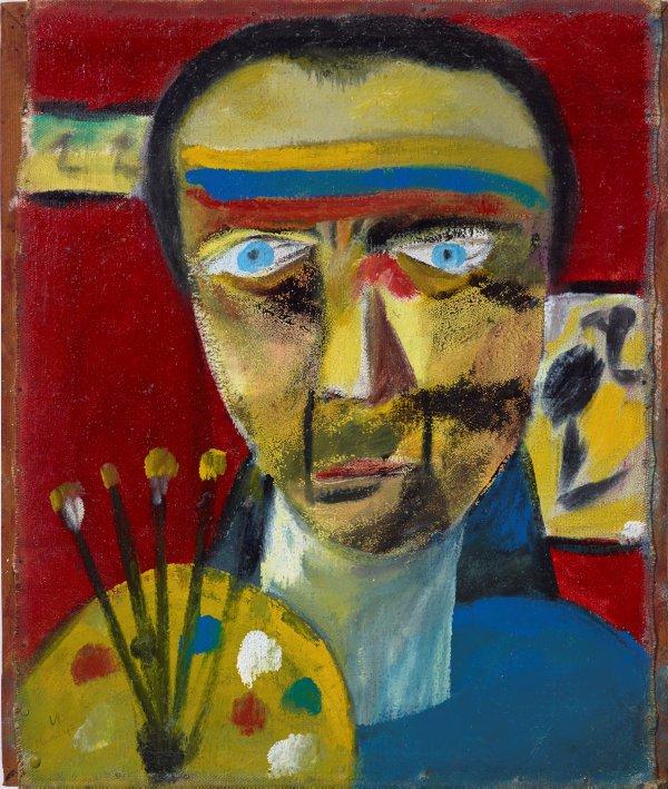 Self portrait, (1943) by Sidney Nolan