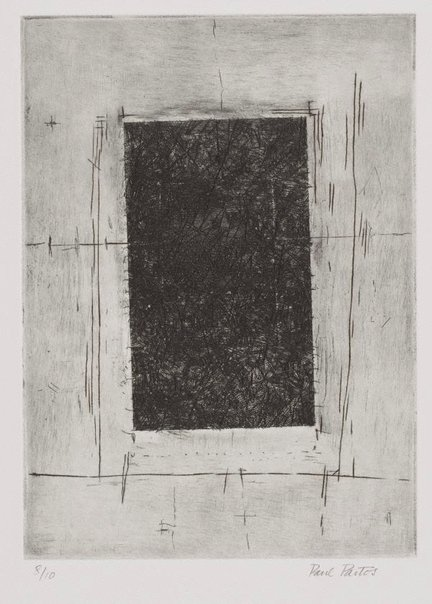 An image of (Untitled, black square, pale corners) by Paul Partos