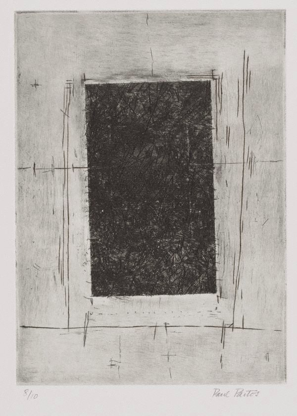 An image of (Untitled, black square, pale corners)