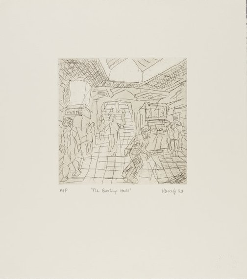 An image of The booking hall by Leon Kossoff
