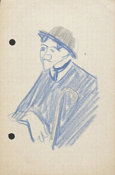 An image of (Man with hat and cane: half-length) by Lyonel Feininger