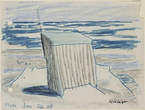 An image of (Cabana on the beach) by Lyonel Feininger