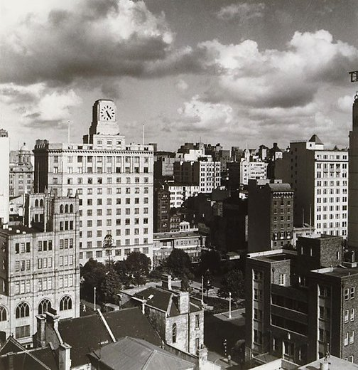 An image of City view from 49 Clarence Street by Olive Cotton