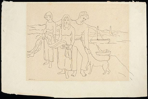An image of Drawing for the painting 'The fisher family '