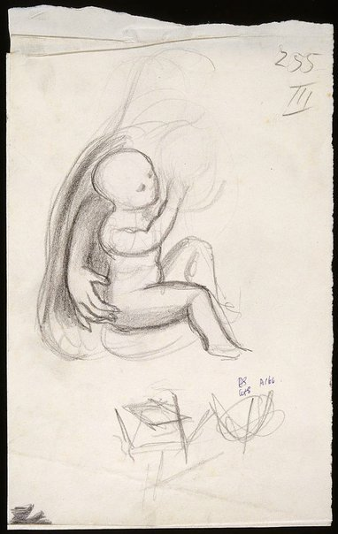 An image of Sheet of various drawings in three sections; Mother and child, leaf and plant studies by David Strachan