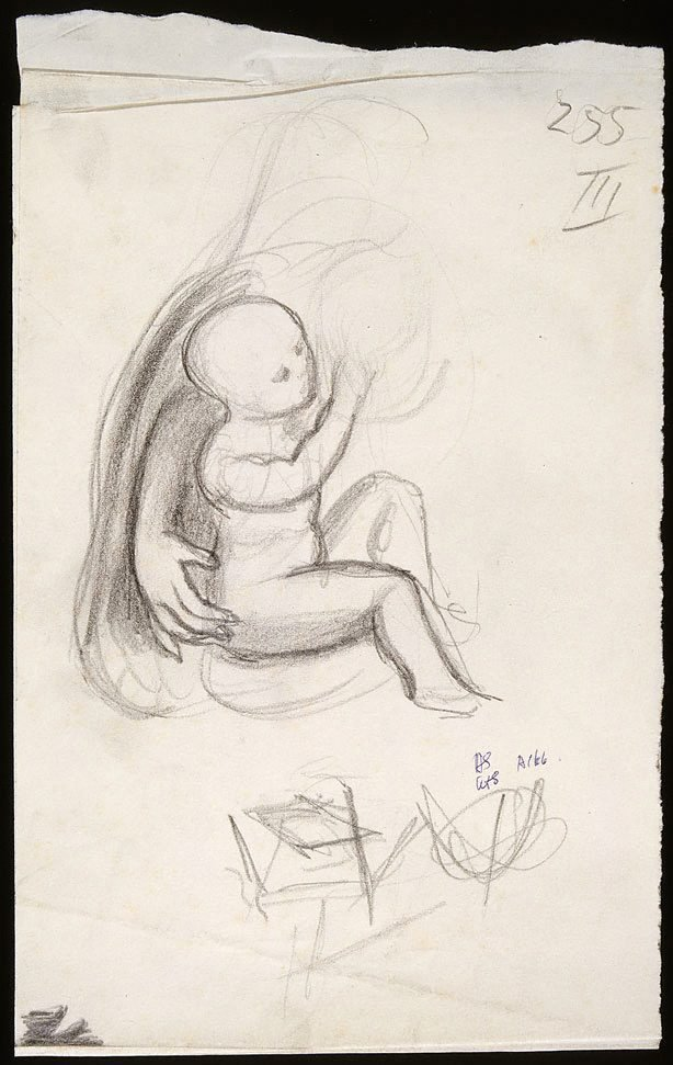 An image of Sheet of various drawings in three sections; Mother and child, leaf and plant studies