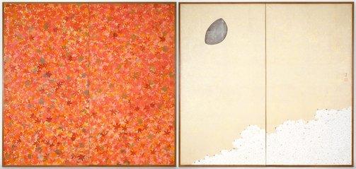 An image of Cherry blossoms and maples by Kawabata Gyokushô