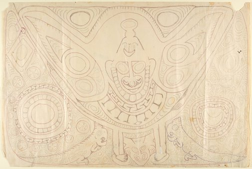 An image of Mumbwan, a mythical figure associated with war canoe prow shields by Simon Nowep