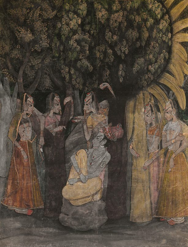 An image of Krishna and Radha with attendants