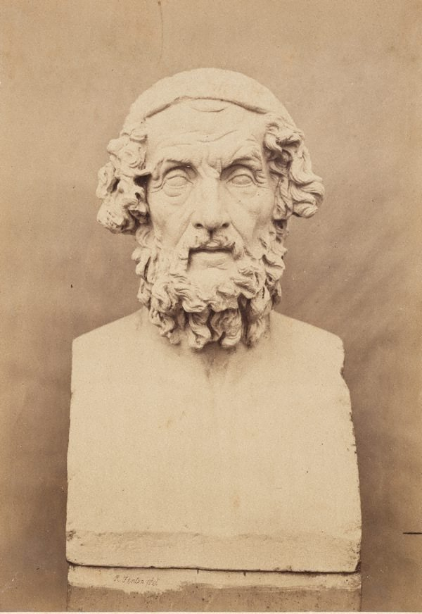 Bust of Homer, frontal view, (1854-1858) by Roger Fenton