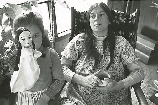 An image of Betsy pregnant, Krista and the puppet, Larkspur by Christine Godden