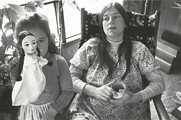 An image of Betsy pregnant, Krista and the puppet, Larkspur