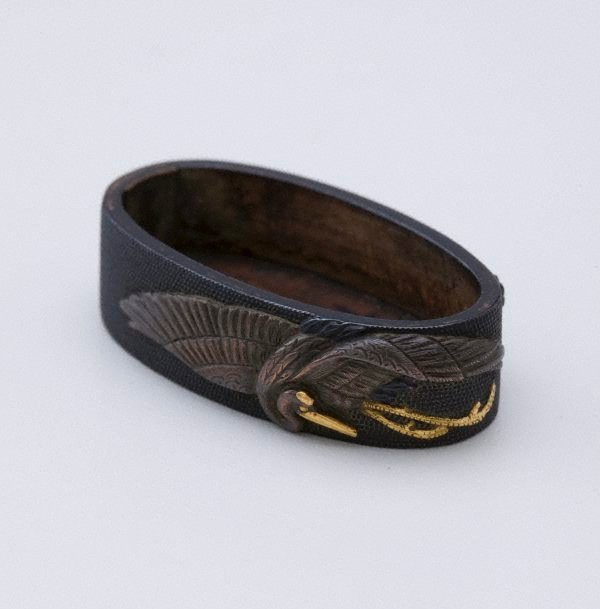 An image of fuchi (with design of crane and tortoise)
