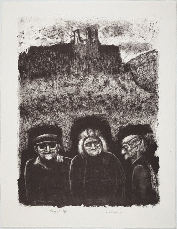 An image of Three villagers and Château D'Opoul