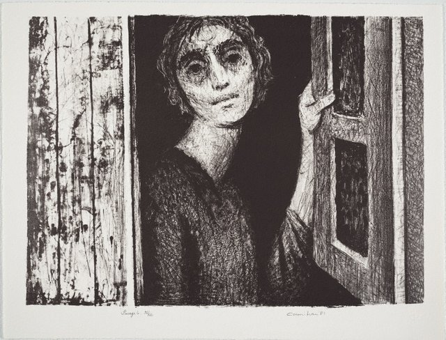 An image of Woman at window