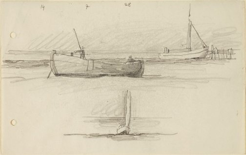 An image of (Boats drawn up on the beach) by Lyonel Feininger