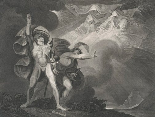 An image of The witches appear to Macbeth and Banquo by James Caldwall, after Henry Fuseli