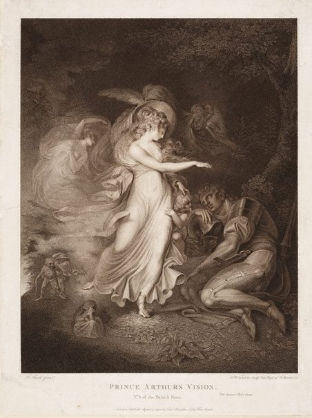 An image of Prince Arthur's Vision by Peltro Williams Tomkins, after Henry Fuseli