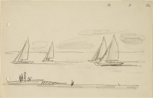 An image of (Yachts racing) by Lyonel Feininger