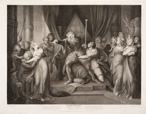 An image of Lear casting out his daughter Cordelia by Richard Earlom, after Henry Fuseli