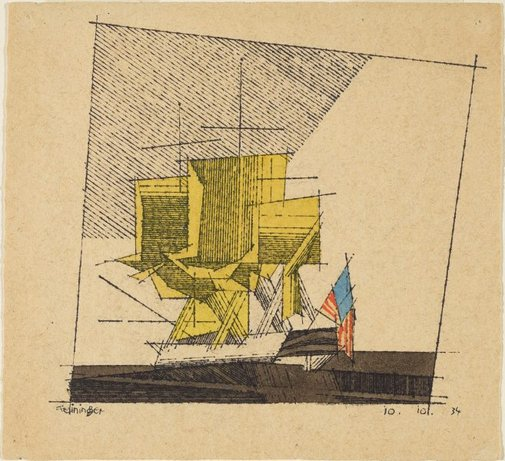 An image of A square rigger, with American flag: becalmed by Lyonel Feininger