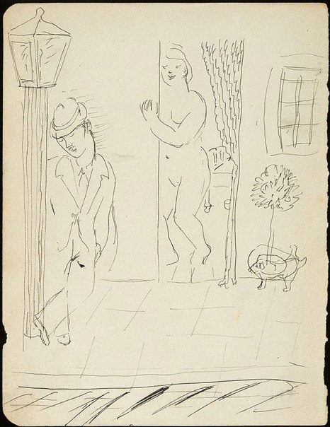 An image of Man leaning on lamp post with woman in doorway by David Strachan