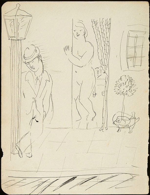 An image of Man leaning on lamp post with woman in doorway