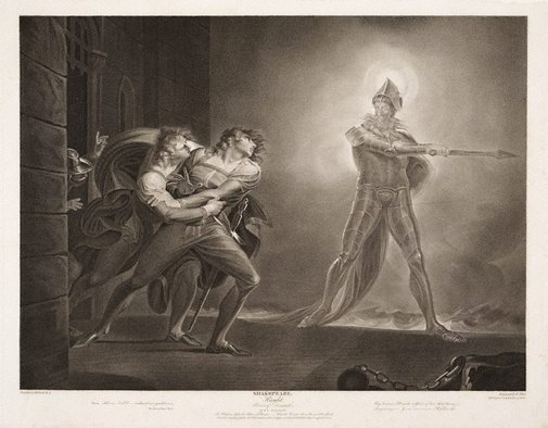 An image of Hamlet, Horatio, Marcellus and the Ghost by Robert Thew, after Henry Fuseli