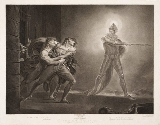 An image of Hamlet, Horatio, Marcellus and the Ghost