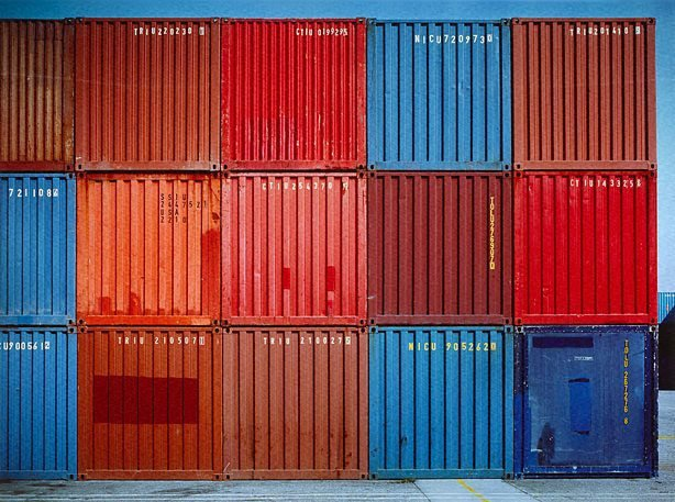 An image of Multi-coloured containers