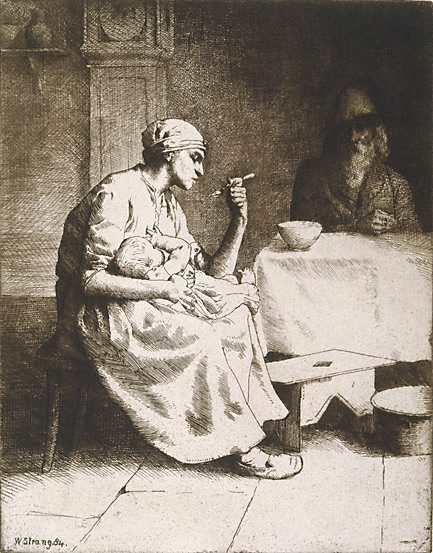 An image of Mother feeding a child by William Strang