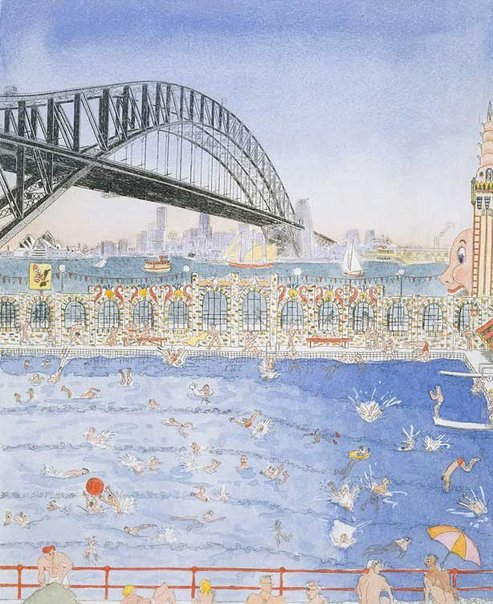 An image of Poolin' by Peter Kingston