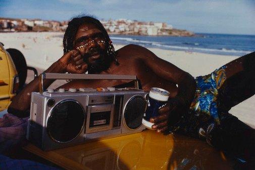 An image of The movie star: David Gulpilil on Bondi Beach by Tracey Moffatt