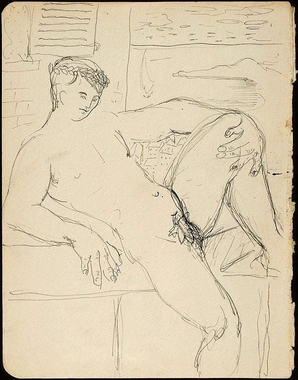 An image of Reclining male nude with fig leaf